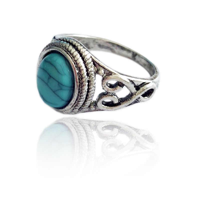 LNRRABC ใหม่สีฟ้าหมั้นเครื่องประดับแหวนผู้หญิงแฟชั่น Vintage แท้เจ้าสาวธรรมชาติแหวน anillos mujer ผู้หญิง