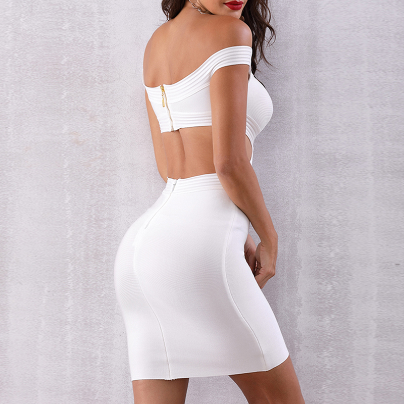 INDRESSME 2019 Women New Fashion Off The Shoulder Hollow Out Mini Sleeveless Bandage Dress Party Club Bodycon Sexy Sheath Dress in Dresses from Women 39 s Clothing