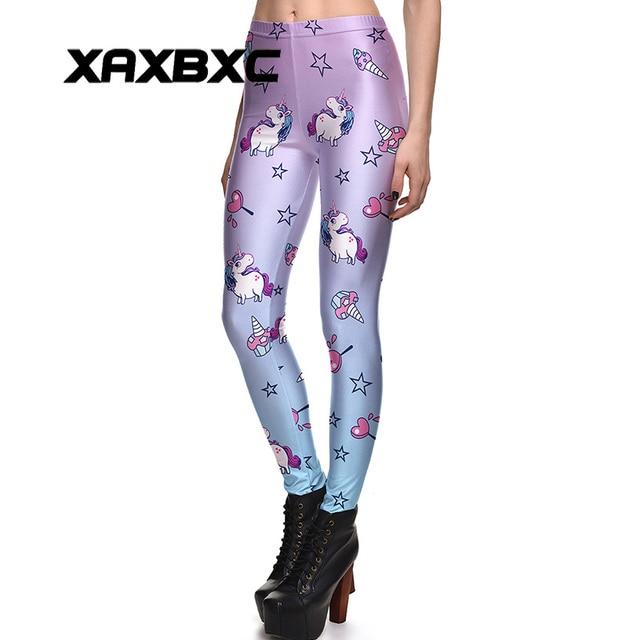 b3738e23a519c XAXBXC 3960 Sexy Girl Pencil Pants Rainbow Unicorn Heart lollipop Prints  Elastic Slim Fitness Workout Women