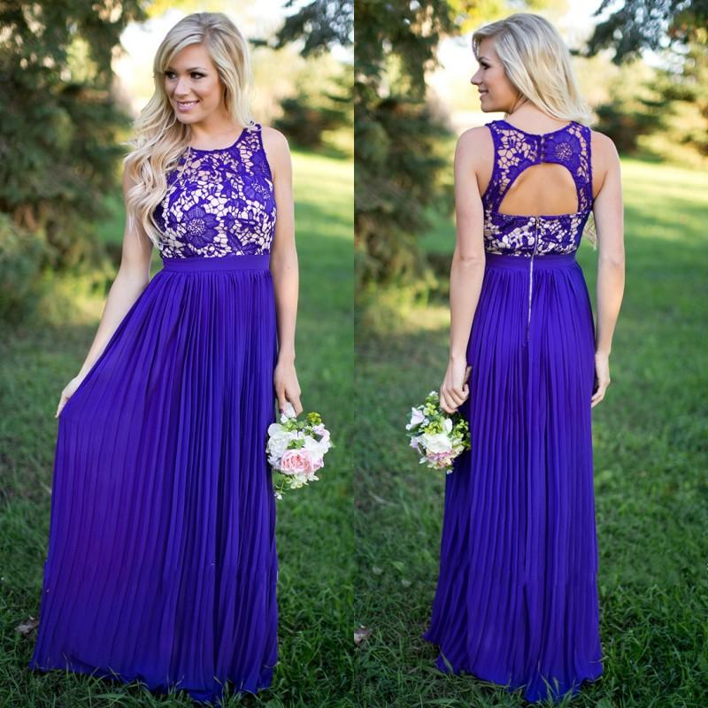 2017 New Spring Summer Country Style Bridesmaid Dresses Purple A ...