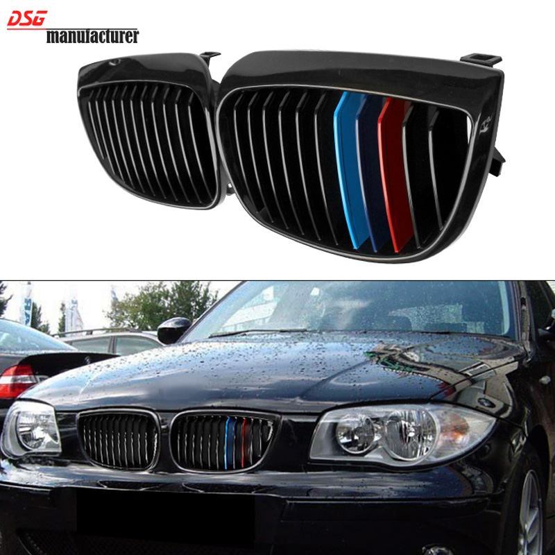 E81 M tri-color abs styling car grill grille for BMW 1 Series E81 E87 2004 - 2007 116i 116d 118i 118d 120i 120d 123d 1-slat yatour car digital music cd changer aux mp3 sd usb adapter 17pin connector for bmw motorrad k1200lt r1200lt 1997 2004 radios