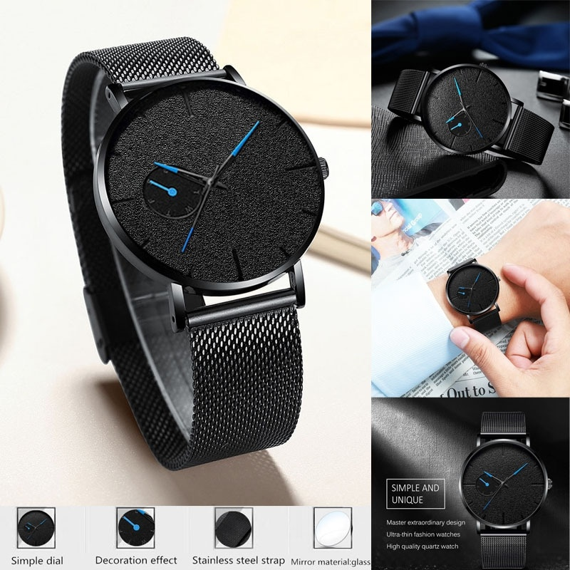 Men Watches Strap Quartz Minimalism Casual Ultra-Thin Simple Brand Pointer Mesh Business