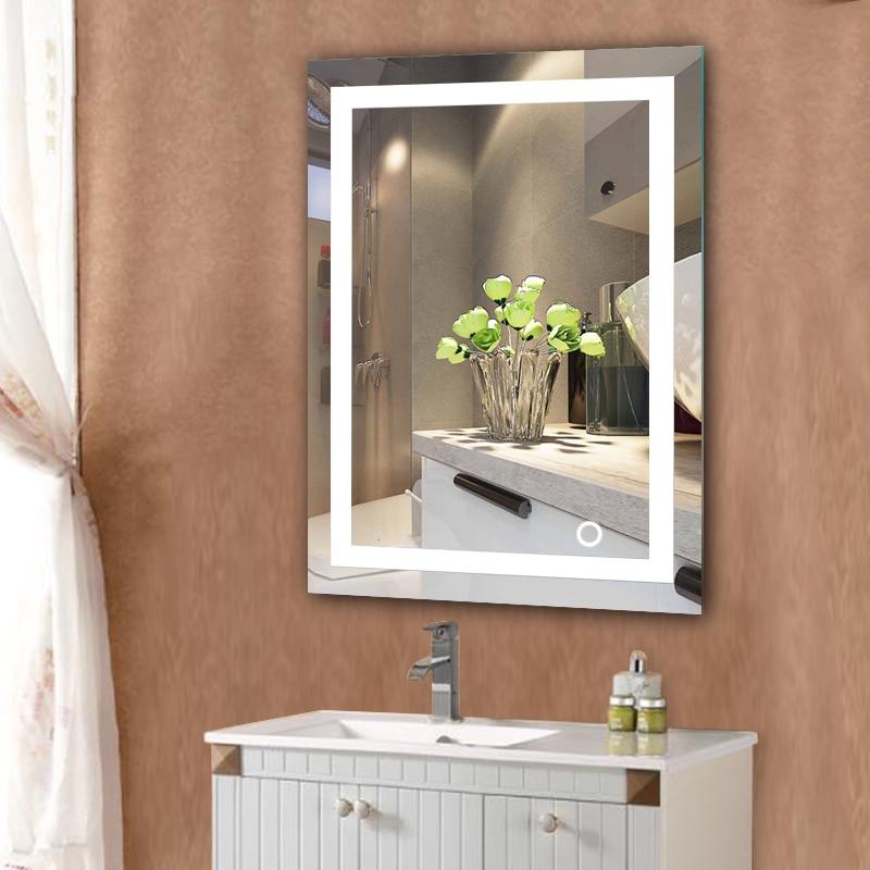 LED 5050 جدار الحمام مضاءة جدار جبل ماكياج مع مرآة لمسة زر جديد للمنزل فندق الحمام أنيق HWC-في ألعاب الجمال والأزياء من الألعاب والهوايات على  مجموعة 2