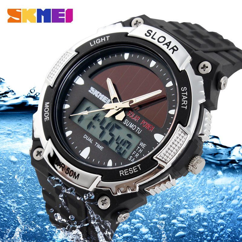 SKMEI Brand Solar Energy Men Sports Watches Outdoor Military LED Watch Fashion Digital Quartz Multifunctional Wristwatches 1049