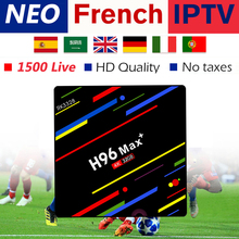 H96 MAX+android 8.1 tv box for smart with best French Belgium Arabic Morocco iptv subscription 1200 live full 4k