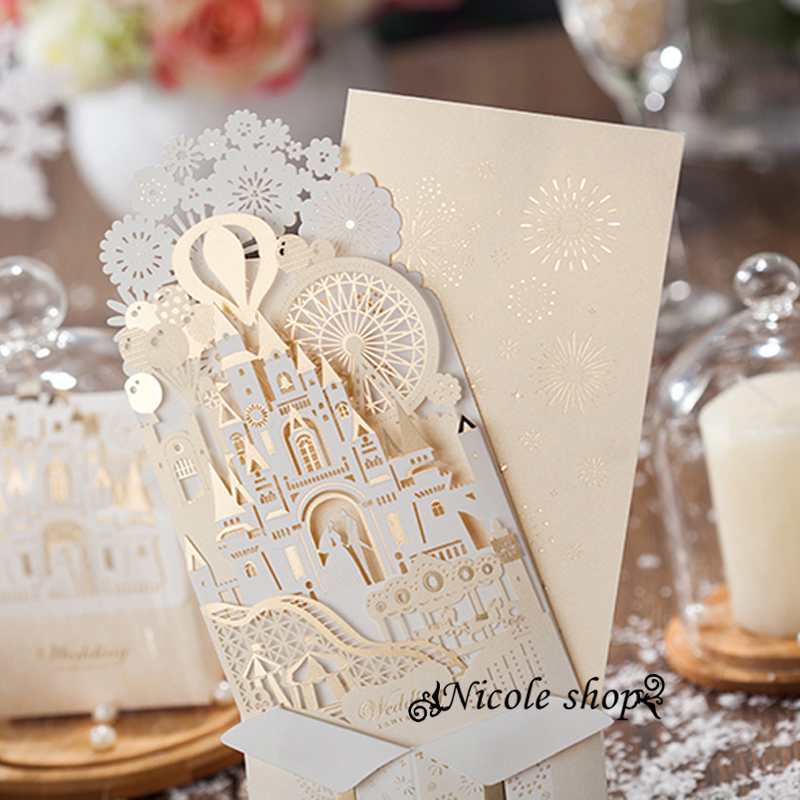 Married White Gold Castle Princess Prince Wedding Invitations Luxurious Invitation Card Supplies For Bride Diy Party In Cards From
