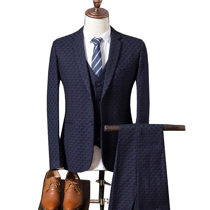 2017 New Mens Suits Jackets+ Men Pants + Vest Fashion ...