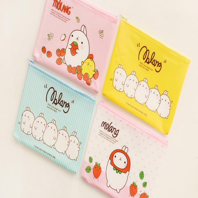 K15 Kawaii Rabbit A5 PVC Grid Pen Bag School Supply Stationery  Storage Phone Storage Cosmetic Case Makeup Bag Pouch