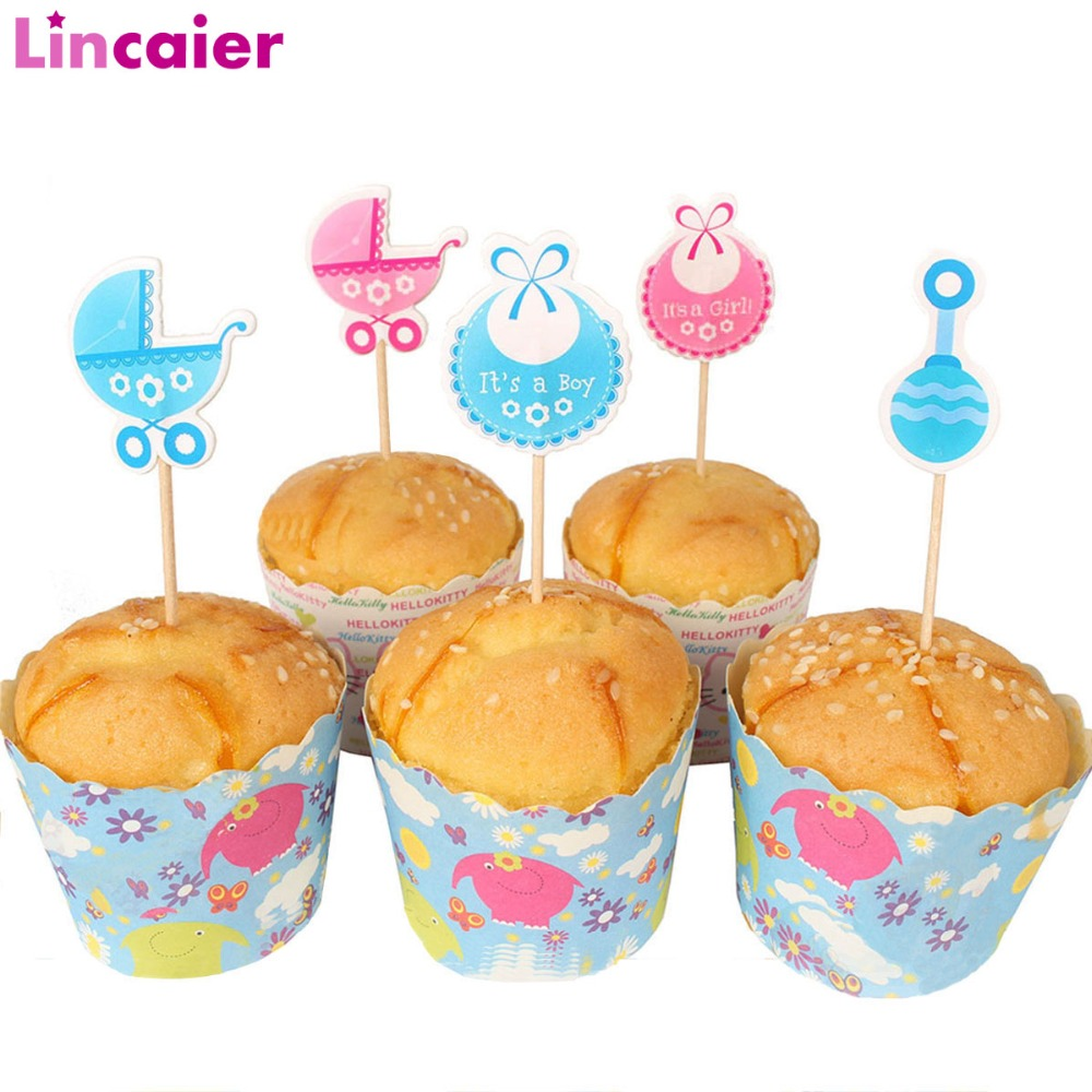 Lincaier 18pcs Cupcake Topper Babyshower Boy Girl Party Decorations Its A Girl Boy Baby Shower Supplies Gender Reveal
