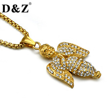 D&Z Iced Out Paving CZ Angel Necklace Gold Color Stainless Steel Pray Child Pendants Necklaces for Men Jewelry