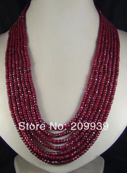 wholesale good h 2x4mm NATURAL  FACETED BEADS NECKLACE 100