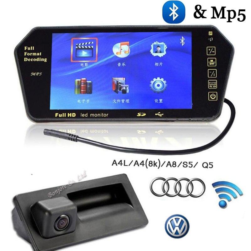 Wireless Parking auto hd 7 inch Monitor FM MP5 Bluetooth mirror & BACKUP CAMERA FOR AUDI VW PASSAT LAVIDA SHARAN GOLF camera чехлы для автокресел lavida hatchards h230 seatpad sylphy lavida