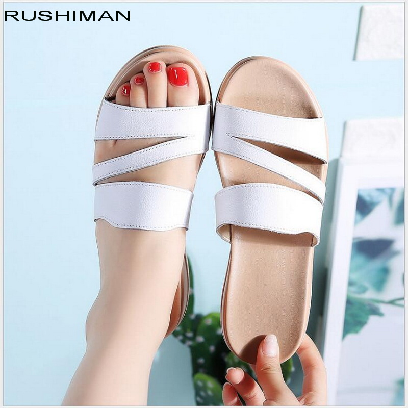 Summer Genuine Leather fashion woman slippers female casual slope thick bottom slip mother slippers ladies soft bottom sandals