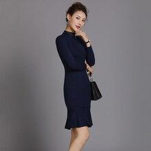 Осень-зима круглый Средства ухода за кожей шеи трикотажные Bodycon платье женщина с длинным рукавом Винтаж оборками Платья-свитеры цвет: черный, синий пуловер Мини-платья