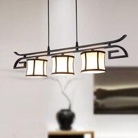 מודרני סיני תליון אורות מסעדה יצירתית מלון בד אור אישיות שלושה ראש יצוק ברזל מרפסת מנורות LU8231059