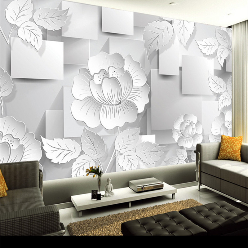 3D Photo Custom Wallpaper Wall Mural Stereoscopic Flower Transparent Flower Wall Papers Wallpaper Home Decor Wall Paper
