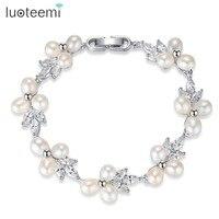 LUOTEEMI Elegante Natuurlijke Parel Sieraden voor Vrouwen Link Ketting CZ Crystal Bridal Bruiloft Accessoires Charmant Armbanden & Bangles