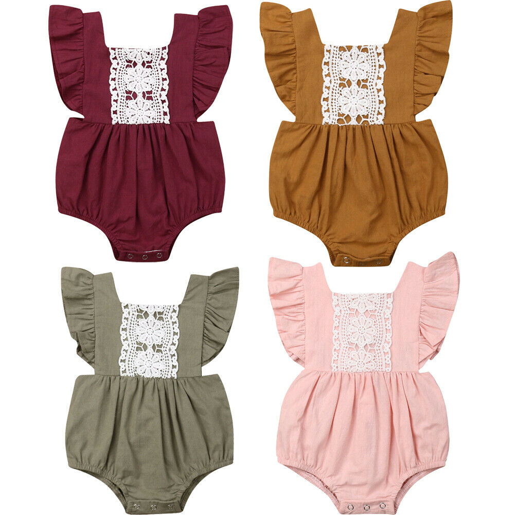 Infant Toddler Baby Girl Ruffled   Rompers   Sleeveless Lace Cotton   Romper   Solid Color Jumpsuit