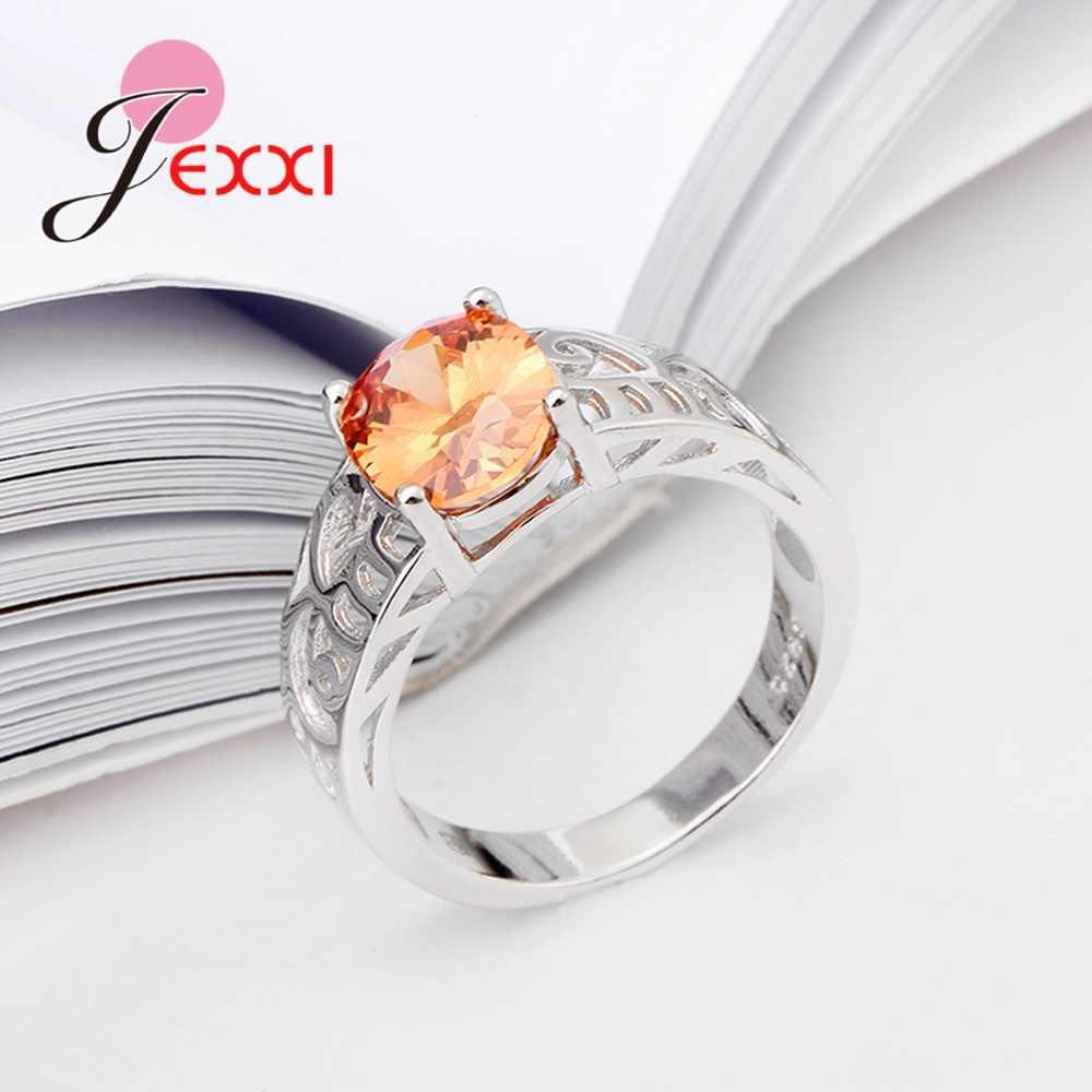 สินค้าใหม่มาใหม่คุณภาพสูงสีส้ม Cubic Zirconia 925 แหวนสำหรับเครื่องประดับ Party Party อุปกรณ์เสริม