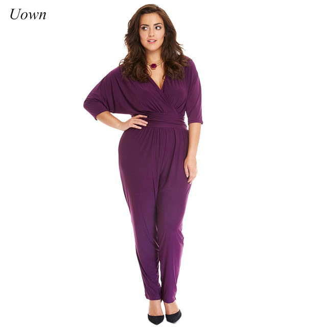 03c4952ee8a2 2018 Women s Elegant Summer Half Sleeve One Piece Jumpsuit Purple Black  Casual Long Pant Romper Outfits for Office Work Vestidos