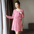 Summer Fresh Elegant Long Sleeve Maternity Dresses Red/blue Striped Pregnant Women Casual Dress Pregnancy Nursing Clothing