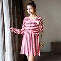 Verão fresco elegante maternidade vestidos de manga longa vermelho/azul listrado mulheres grávidas casual dress gravidez roupas de enfermagem