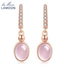 Lamoon Висячие серьги для Для женщин 100% натуральный розовый кварц S925 стерлингового серебра Красивые ювелирные изделия Свадебная вечеринка Brincos EI006