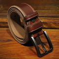 2016 vintage genuine leather men  luxury leather buckle belts jean strap wide waistband brown color