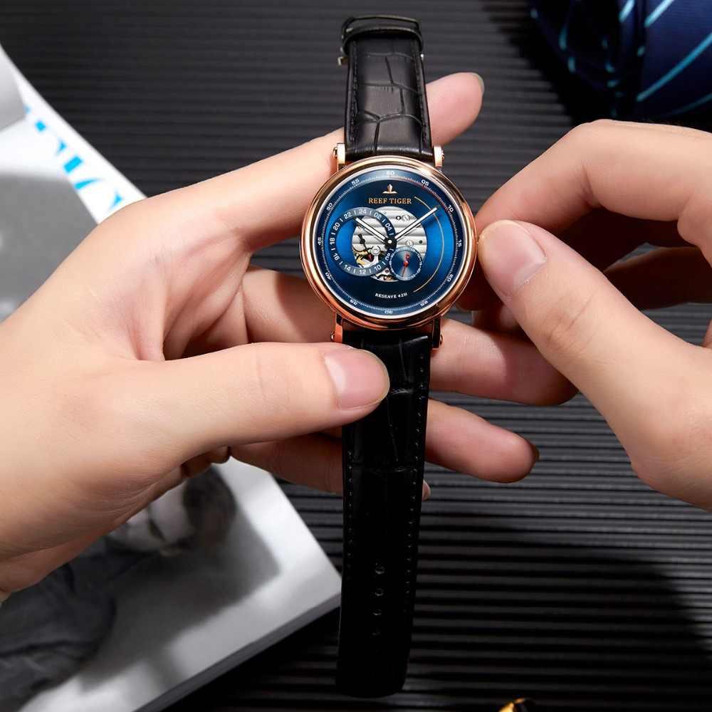 שונית טייגר/RT 2020 יוקרה מותג גברים מעצב שעונים כחול מילואים אוטומטי שעון אופנה רצועת עור שעון RGA1617