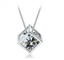 цена на Free shipping 2014 new arrival Love Cube hot sell 925 sterling silver ladies`fashion zircon crystal pendant necklaces jewelry