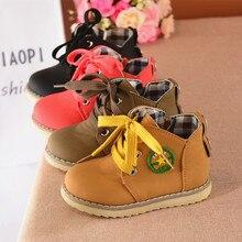 Children shoes girls 2017 autumn new fashion yellow men and women children's boots Martin boots tie black children boots leisure