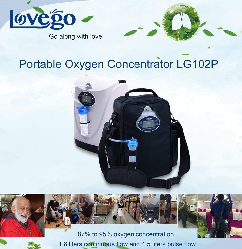 Más de 4 horas mini concentrador de oxígeno portátil Lovego G2 con oxígeno bajo alarma para 1-4,5 litros de oxígeno tratamiento