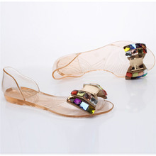 Summer Sandals Bling Bow tie Toe Jelly Flat Shoes Transparent