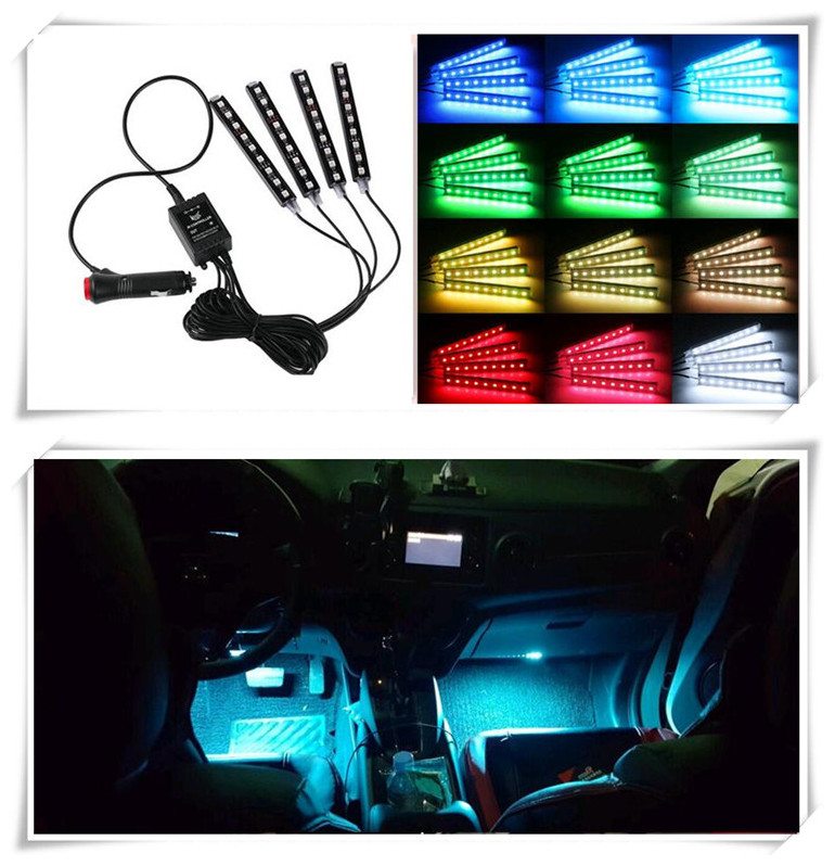 4pcs/et 7 Color LED Car Interior Lighting For Kia Ceed Mohave OPTIMA Carens Borrego CADENZA Picanto SHUMA sticker Accessories kia ceed автомобили с пробегом
