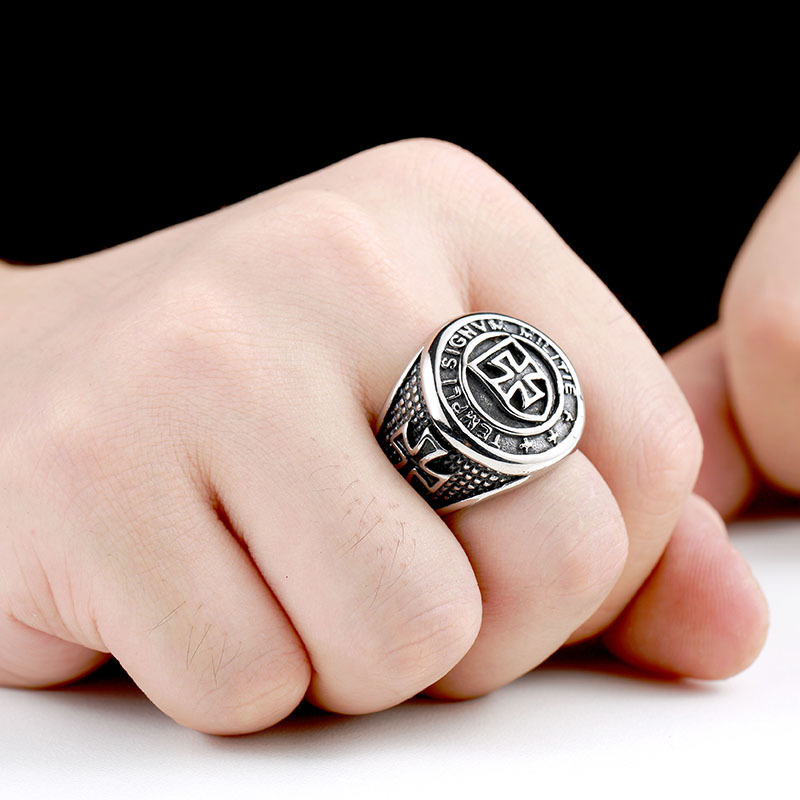 Men/'s Stainless Steel Rings Cross Knight Shield Titanium Steel Jewelry A280
