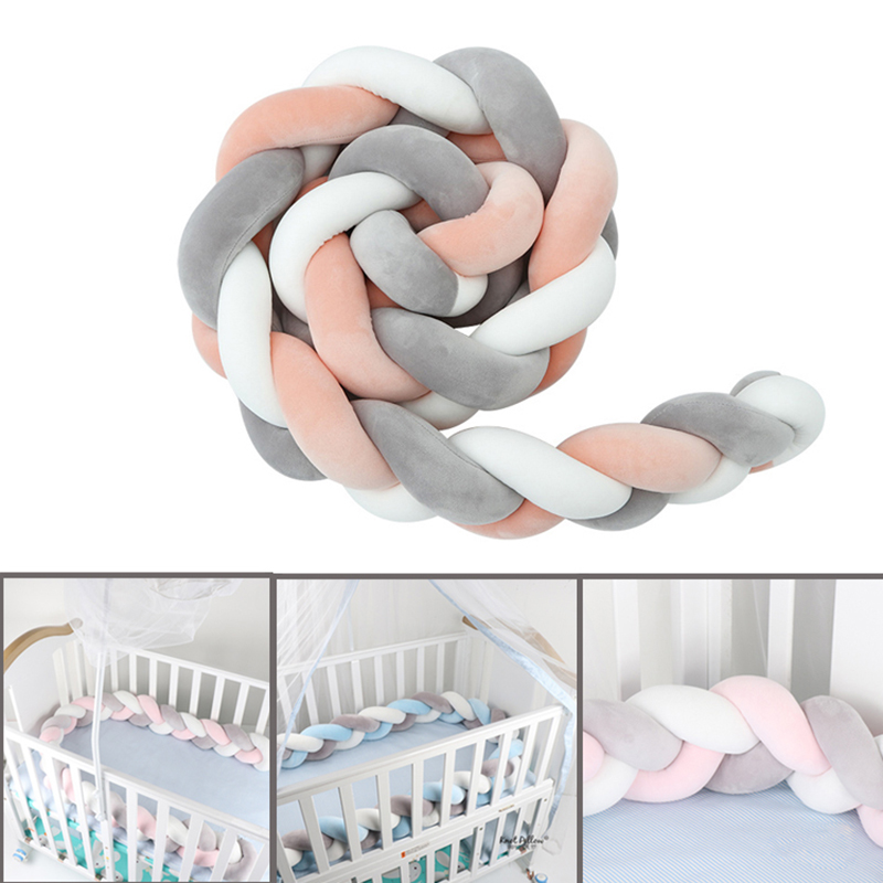 1Pcs 1M/2M/3M Newborn Baby Bed Bumper Crib Bumper Knot Newborn Bed Bumper Long Knotted Braid Pillow Knot Crib Infant Room Decor