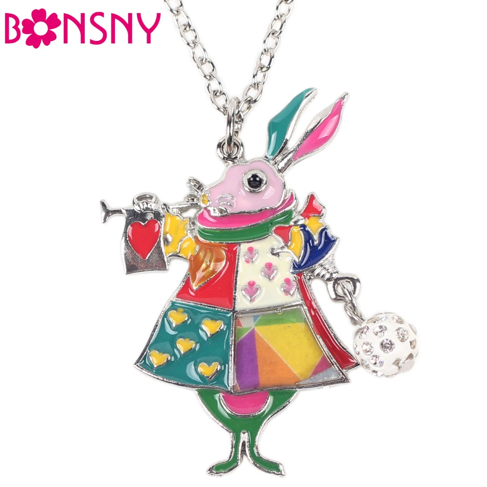 Newei Mouse Necklace Enamel Rabbit Pendant Zinc Alloy Plate New 2016 Fashion Jewelry For Women Statement Collar Accessories цена