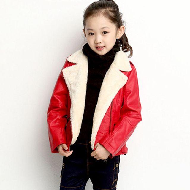 New Kids Inverno Shorts de Couro Pu Cor Sólida Revestimento Da Motocicleta menino Meninas de Veludo Engrossar Outwear Jaqueta para Crianças Menino Bebê casaco