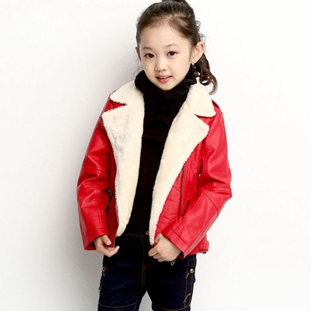 New Winter Kids Shorts Pu Leather Solid Color Motorcycle Jacket Boy Girls Velvet Thicken Jacket Outwear for Boy Baby Kids Coat