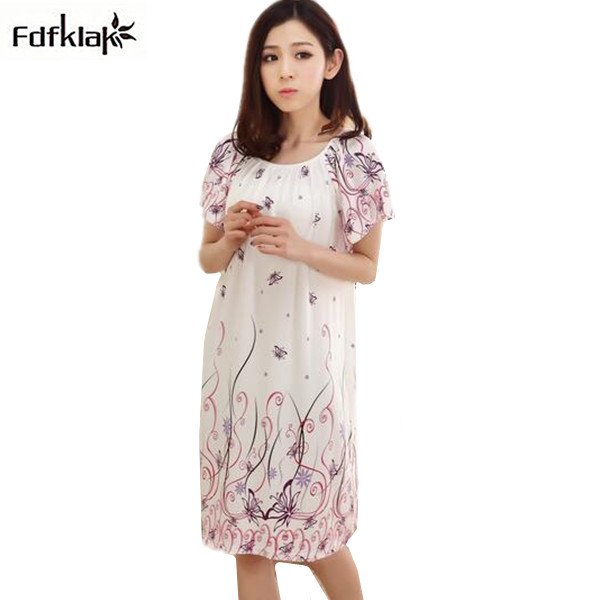 2018 Free Shipping Woman Spring Summer Cotton Plus size   Nightgown   Girl's Soft   Sleepshirts   Female Sleepwear Nightdress Q934