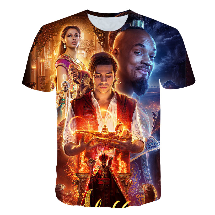 FUNNY New arrive Classic cartoon Aladdin lamp Tshirt 3D printing harajuku style   t     shirt   /summer tops
