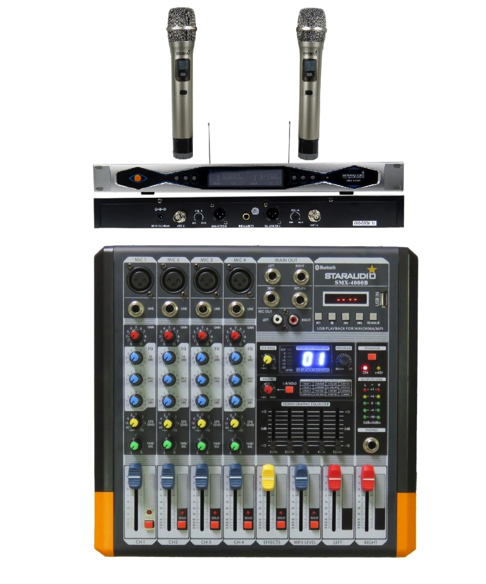 STARAUDIO Pro 4 Channel Powered DJ Audio Amplifier Mixer Mixing Console with 2CH UHF Mics For Karaoke System SMX-4000B staraudio pro 4 channel 2000w live studio dj stage amplifier powered mixer with mp3 bluetooth usb sd 16 dsp smx 4000b