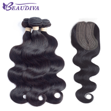 BEAUDIVA Pre-Colored Human Hair Weave with L Part Lace Closure Brazilian Body Wave Hair Bundle with Closure 1B Natural Black