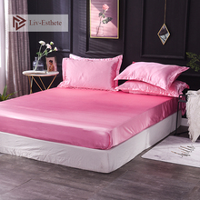 Liv-Esthete Wholesale Luxury 100% Satin Silk Pink Fitted Sheet Silky Mattress Cover Queen King Decor Bed Sheets For Women 1pcs