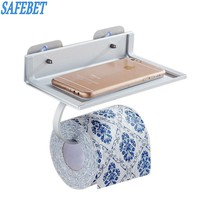 2017 High Quality Space Aluminum Bathroom Storage Shelf Earthly Gold Mobile Phone Paper Towel Rack Organizer