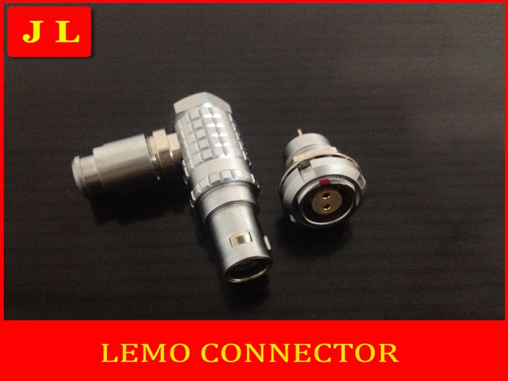 Lemo 90 degree elbow 0B 2pin connector for video application FHG.0B.302.CLAD/ECG.0B.302.CLL 3pcs aviation bend angle fhg plug 1b 90 degree angle elbow connector
