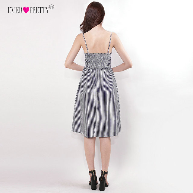 Ever Pretty Cocktail Dresses Cheap Spaghetti Straps Knee-Length Party Gown EZ03073NB Modern Stripes vestidos coctel mujer 2018 Cocktail Dresses