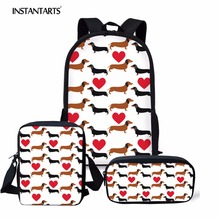 цена на INSTANTARTS Women Backpack Casual 3PCS/Set Children Kids Large Mochilas Schoolbags Boy Girl Cute  Dachshund Dog Pattern Backpack