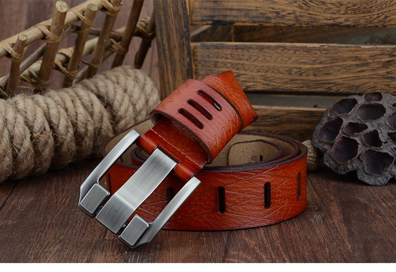 COWATHER 2017 QUALITY cow genuine luxury leather men belts for men strap male pin buckle BIG SIZE 100-130cm 3.8 width QSK001 18