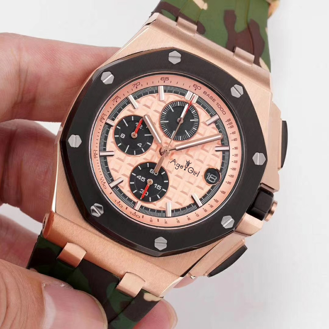 Luxury Brand New Men Watches Chronograph Sapphire Stainless Steel Camouflage Rubber Rose Gold Silver Luminous Stopwatch GreenLuxury Brand New Men Watches Chronograph Sapphire Stainless Steel Camouflage Rubber Rose Gold Silver Luminous Stopwatch Green